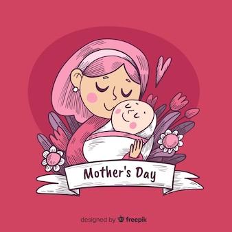 Fond de fête des mères dessiné à la main