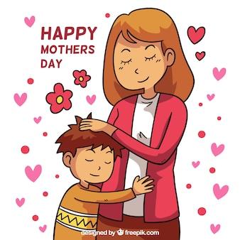 Fond de fête des mères avec une famille heureuse