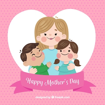 Fond de fête des mères avec une famille mignonne