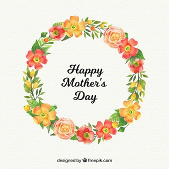 Fond de fête des mères avec une gerbe de fleurs dans un style aquarelle