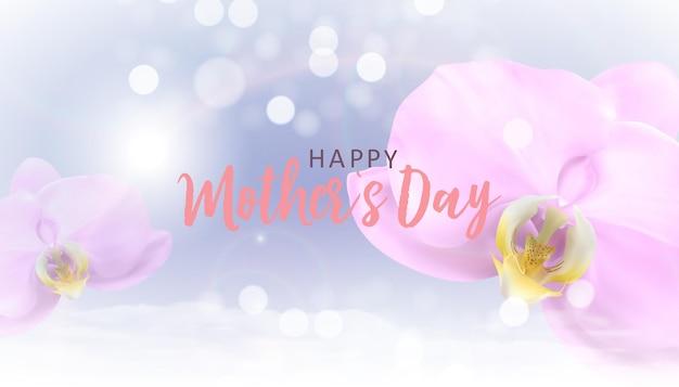Fond de fête des mères heureux avec des fleurs d'orchidées réalistes.