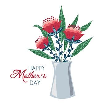 Fond de fête des mères heureux avec des fleurs