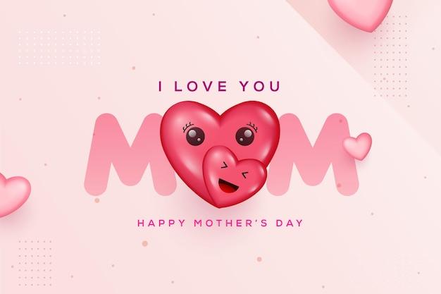 Fond de fête des mères heureux avec papier découpé coeur et lettres