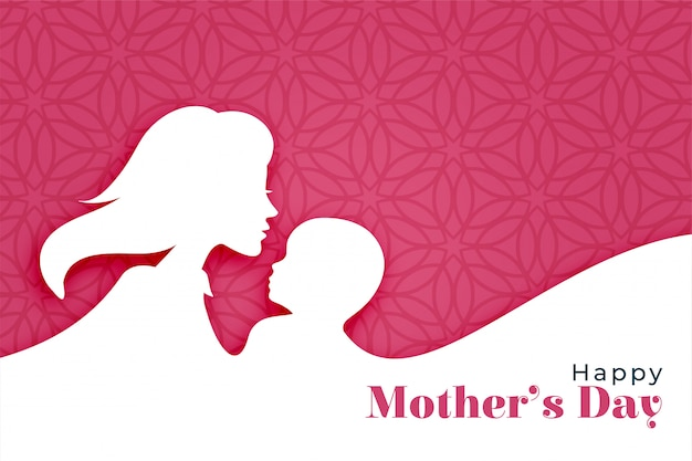 Fond de fête des mères heureux avec la silhouette de maman et enfant