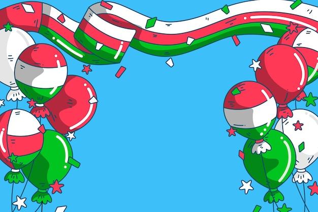 Fond de fête nationale d'oman dessiné à la main