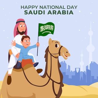 Fond de fête nationale saoudienne de dessin animé