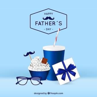 Fond de fête des pères avec boîte de cadeaux dans un style réaliste