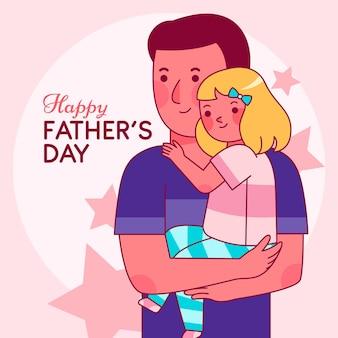 Fond de fête des pères design plat avec père et fille