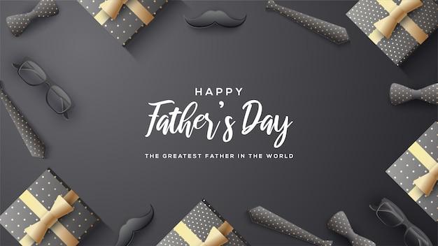 Fond de fête des pères avec écriture blanche sur fond noir.