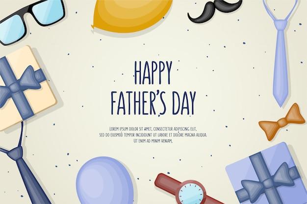 Fond de fête des pères avec l'écriture d'illustrations et certains objets avec des dessins plats.