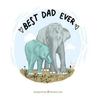 Fond de fête des pères avec des éléphants mignons