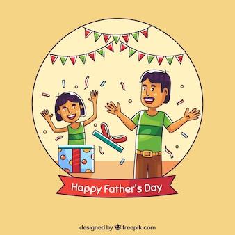 Fond de fête des pères avec la famille célébrant