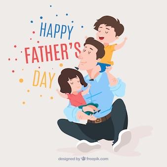 Fond de fête des pères avec une famille mignonne