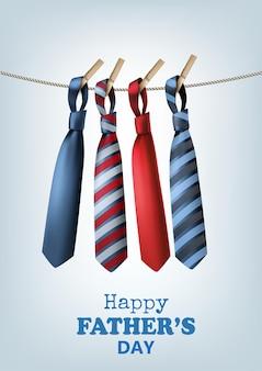 Fond de fête des pères heureux avec des cravates colorées sur la corde. illustration vectorielle