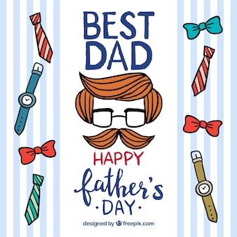 Fond de fête des pères heureux avec des éléments