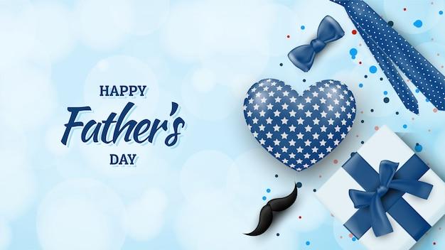 Fond de fête des pères heureux avec des illustrations de ballons, coffrets cadeaux, moustaches, rubans et cravate.