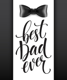 Fond de fête des pères heureux avec lettrage de voeux et noeud papillon.
