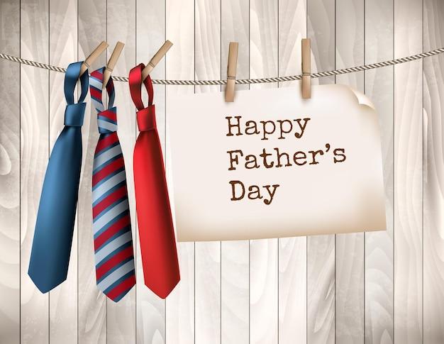 Fond de fête des pères heureux avec trois cravates sur fond en bois. illustration vectorielle