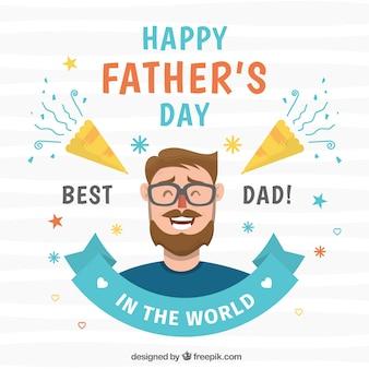 Fond de fête des pères avec un homme heureux
