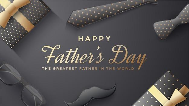 Fond de fête des pères avec illustration de boîte-cadeau, lunettes, cravate et moustache 3d.