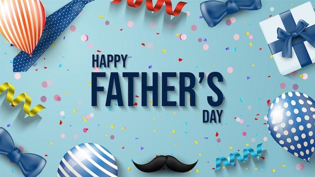 Fond de fête des pères avec des illustrations de ballons, coffrets cadeaux, moustaches, rubans et cravate.