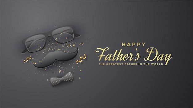 Fond de fête des pères avec des illustrations de lunettes, moustache et une cravate 3d sur fond noir.
