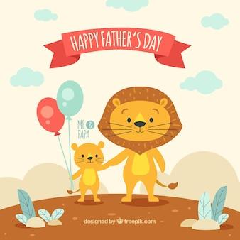 Fond de fête des pères avec des lions