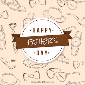 Fond de fête des pères avec motif en style dessiné à la main