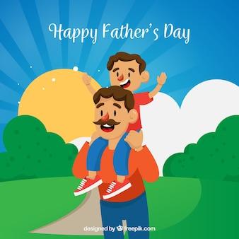 Fond de fête des pères avec papa et fils