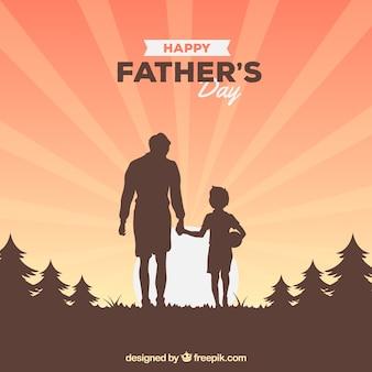 Fond de fête des pères avec la silhouette de la famille