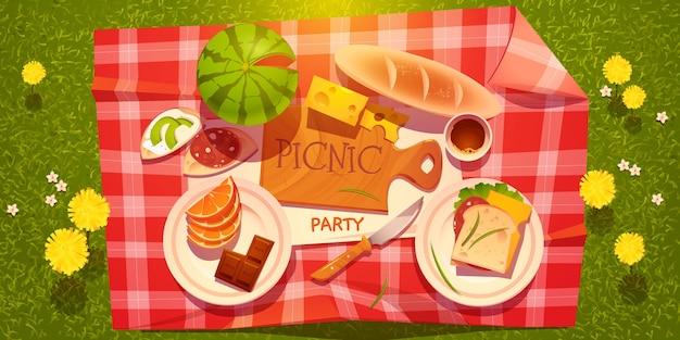Fond de fête de pique-nique de dessin animé