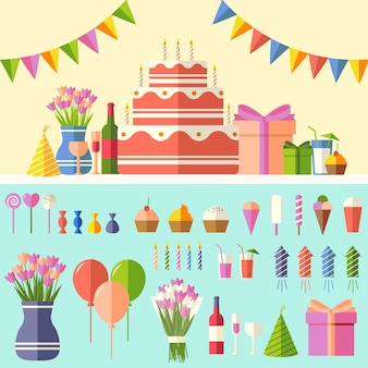 Fond de fête plat joyeux anniversaire avec jeu d'icônes de confettis