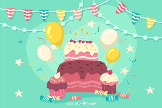 Fond de fête plat joyeux anniversaire