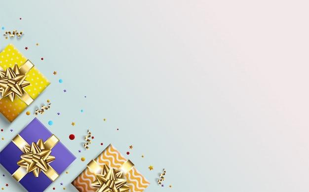 Fond de fête avec trois illustrations de boîte-cadeau colorée.