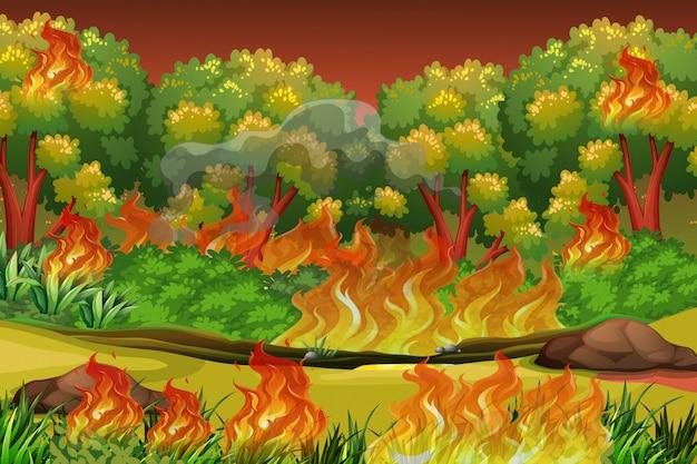 Fond de feu de forêt dangereux