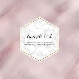 Fond de feuille aquarelle or rose avec cadre en marbre