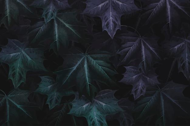 Fond de feuille d'érable vert violacé dessiné à la main