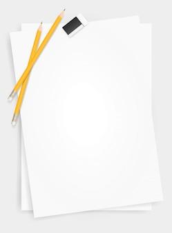 Fond de feuille de papier blanc avec un crayon et une gomme.
