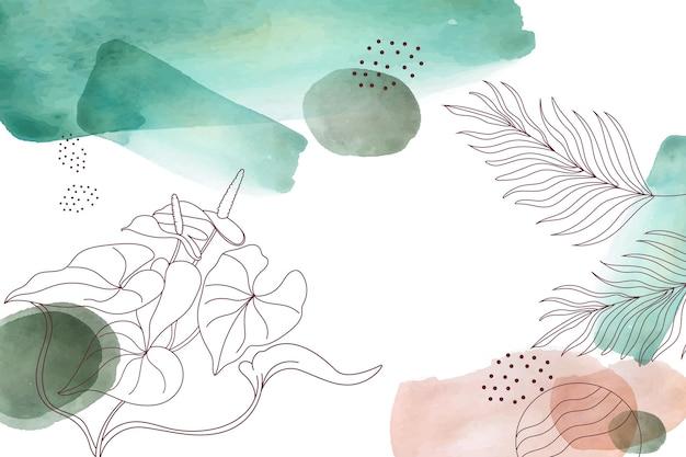 Fond de feuilles aquarelle dessinés à la main