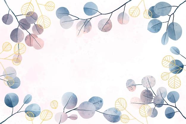 Fond de feuilles aquarelle avec des détails dorés