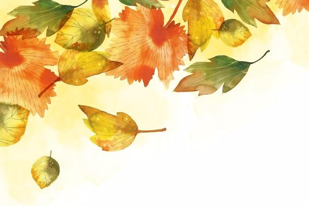 Fond de feuilles d'automne aquarelle