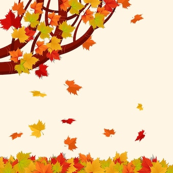 Fond de feuilles d'automne de dessin animé