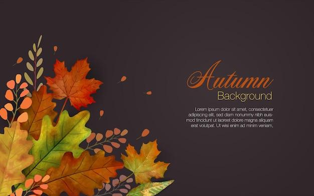 Fond de feuilles d'automne en marron avec groupe coloré de feuilles tombantes en bas à gauche et copyspace