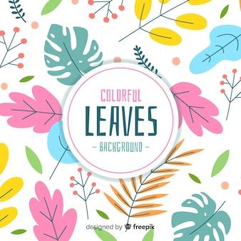 Fond de feuilles colorées dessinées à la main