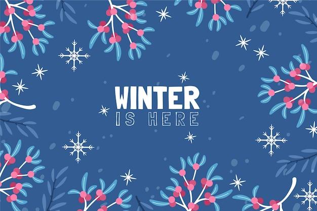Fond avec des feuilles dessinées et l'hiver est ici un message