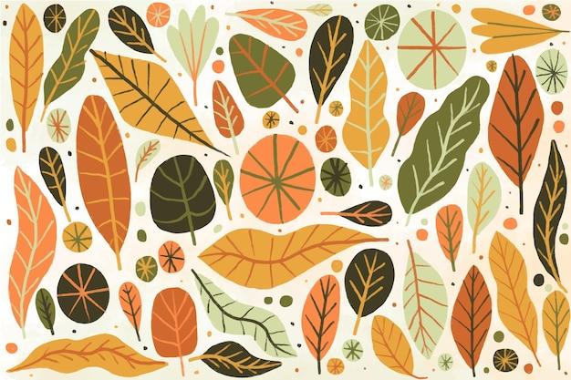 Fond de feuilles différentes colorées
