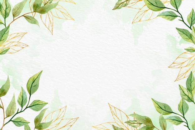Fond de feuilles avec feuille métallique