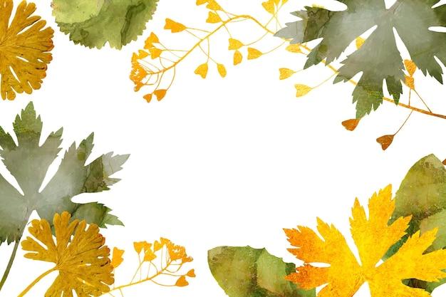Fond de feuilles avec une feuille d'or