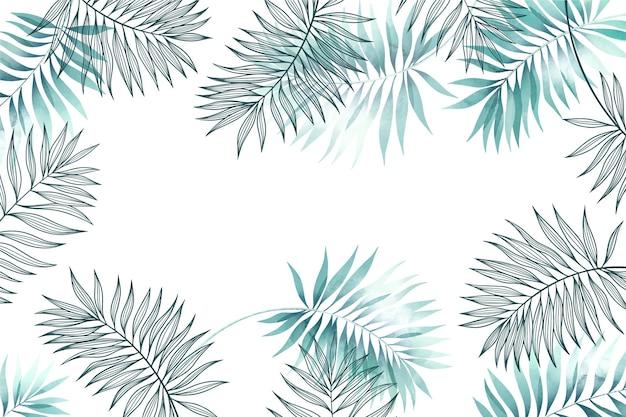 Fond avec des feuilles grises et bleues