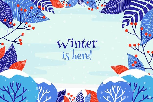 Le fond avec des feuilles et l'hiver est ici un message
